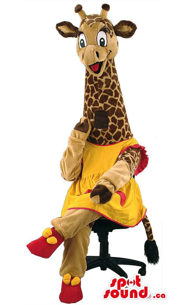 Giraffe Animal Mascot SpotSound Canada With Yellow And Red Clothes