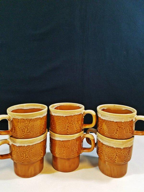 Vintage Stackable Brown Coffee Cup or Mug Floral Design