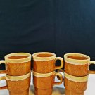 Vintage Stackable Brown Coffee Cup or Mug Floral Design
