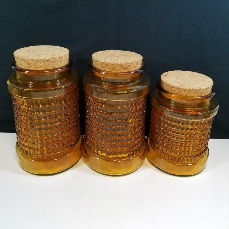 Vintage 1960s Heavy Amber Glass Bubbled Ribbed Canister Set with Cork Top