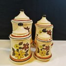 Ceramic Brown and Yellow Flowers Canister Set