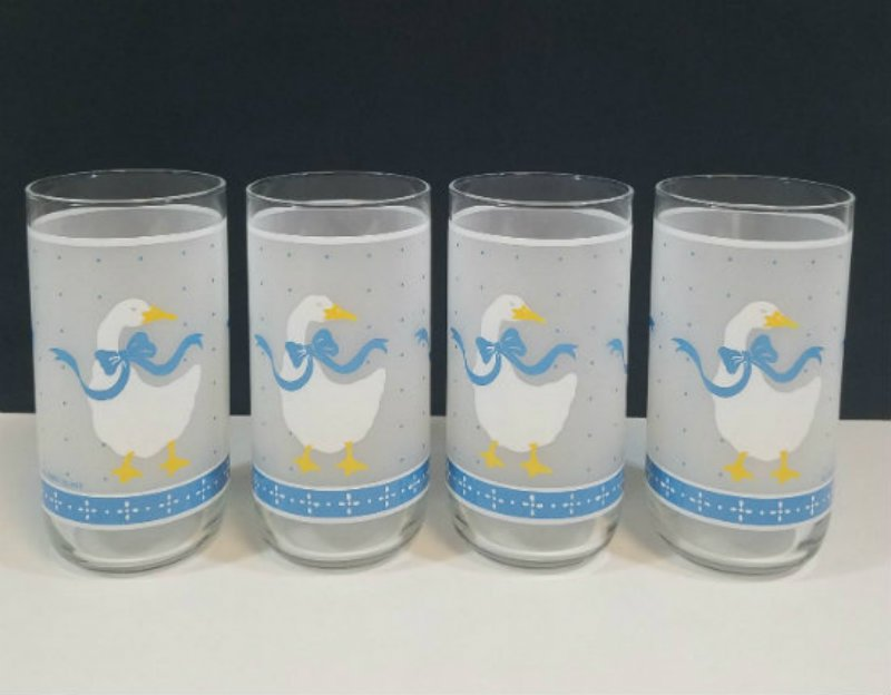 Libbey Blue Ribbon Frosted Geese Glass Tumblers 10 ozs Set of 4