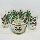 Indiana Christmas Holly Berry Clear Glass Ice Bucket with 9 Glass Tumblers