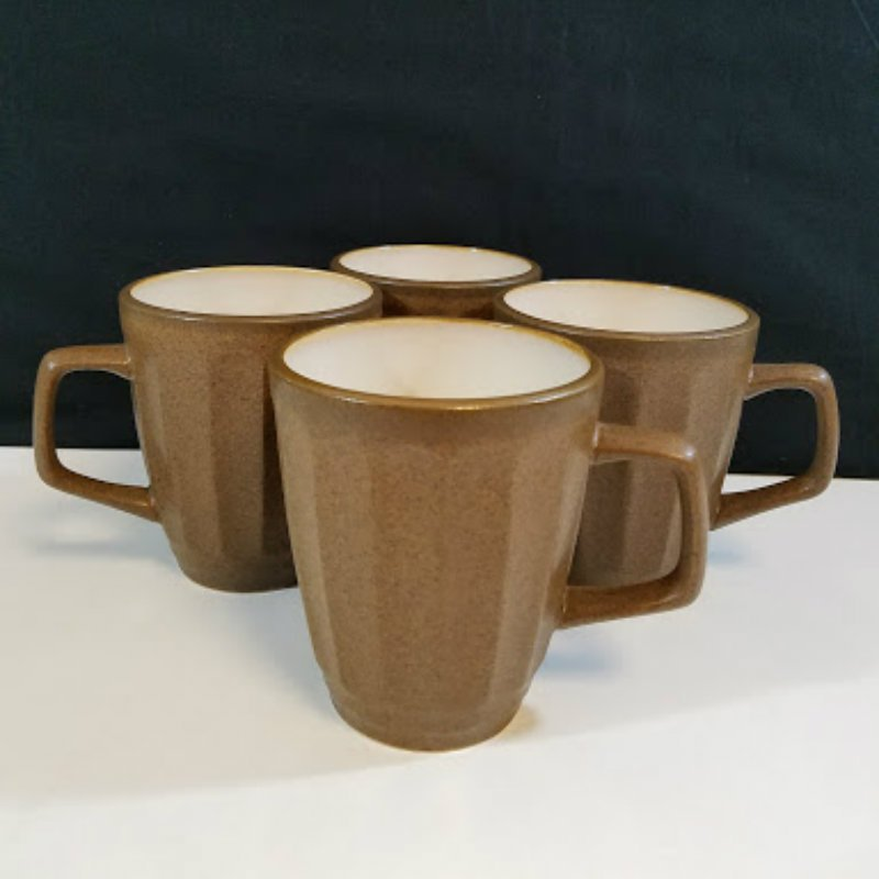 Sango 4706 Contrast Brown Coffee Mugs Cups Set of 4