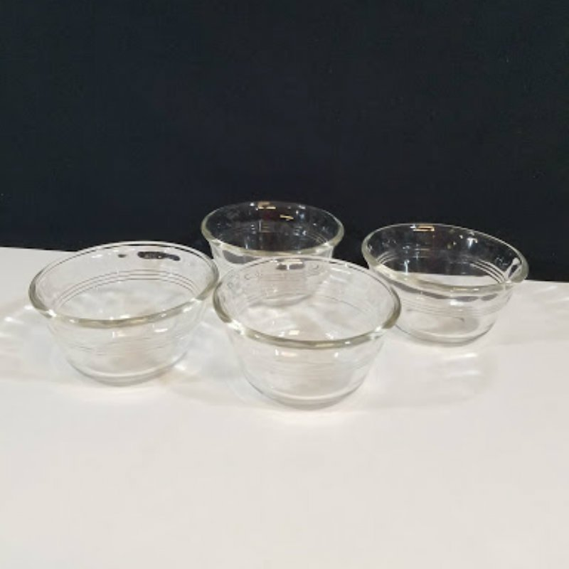 Pyrex 463 Clear Glass 6 Ounce Ramekins Custard Cups Set of 4