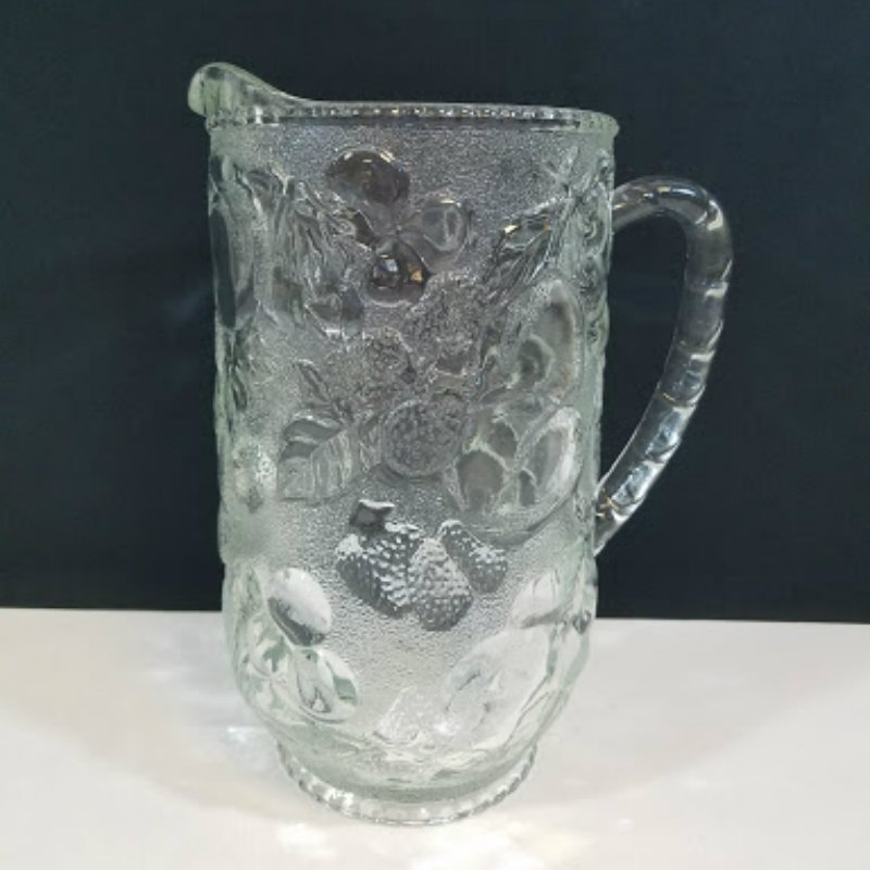 Glass Pitcher Embossed Fruit Design