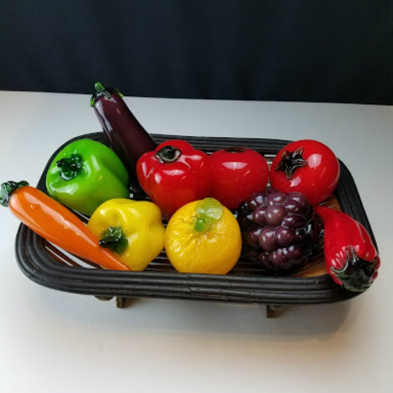 Hand Blown Glass Fruits and Vegetables with Basket