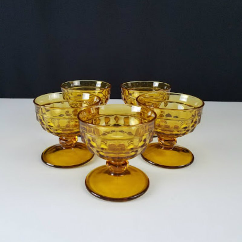 Colony Whitehall Amber Footed Sherbet Glasses Dessert Cups Set of 5