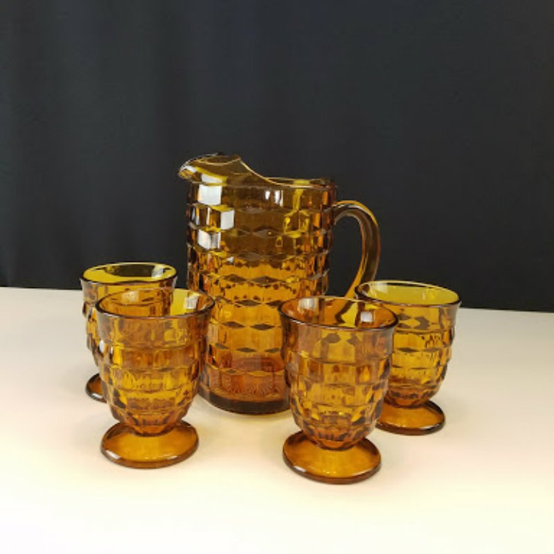 Colony Whitehall Amber Glass Pitcher with 4 Tumblers