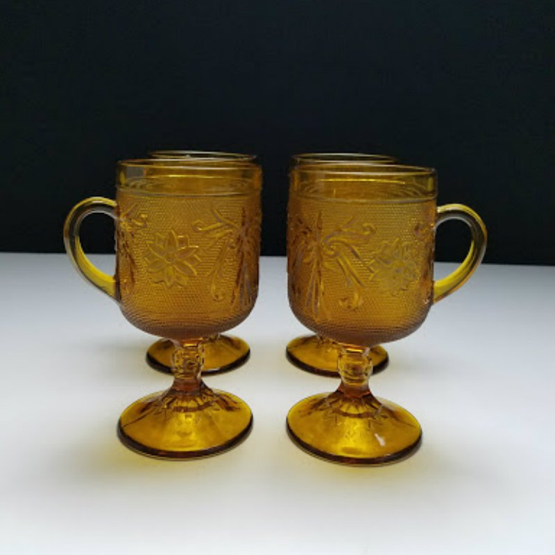 Tiara Indiana Glass Amber Sandwich Footed Cups Mugs 8 ozs Set of 4