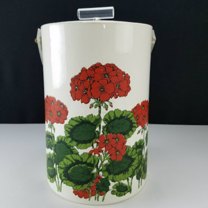 Vintage Georges Briard Ice Bucket Vinyl with Red Flowers