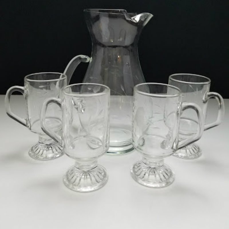 Princess House Heritage Pitcher and 4 Footed Pedestal Irish Coffee Mugs