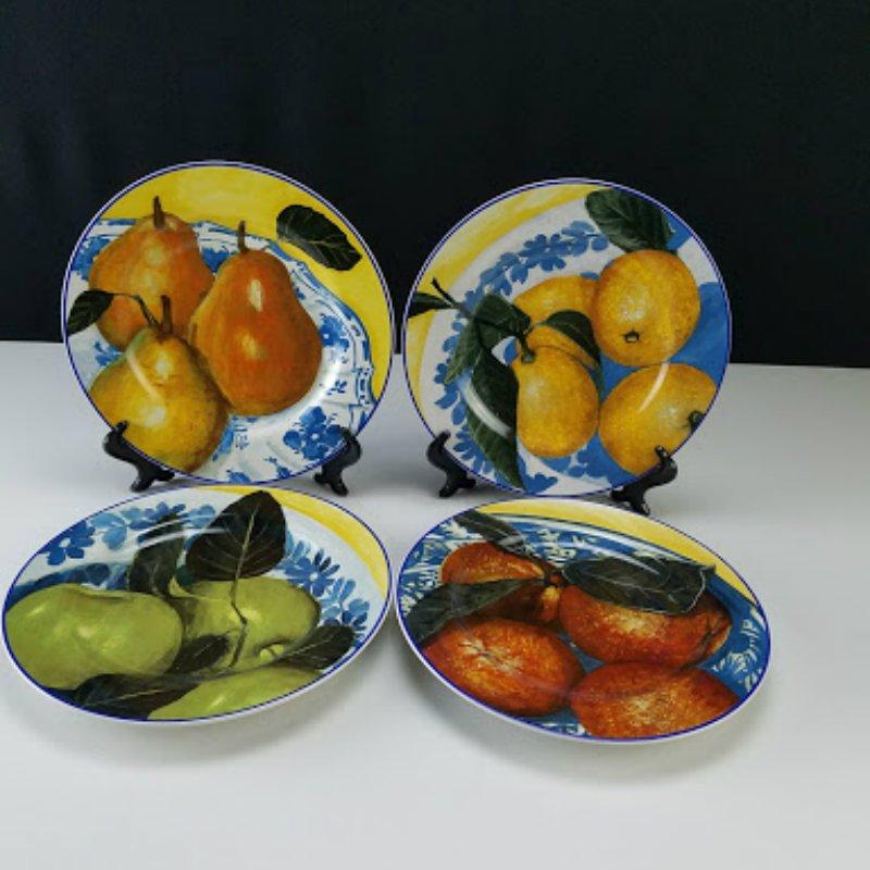 Sakura Fruit Scroll Stoneware Salad Dessert Plates Set of 4