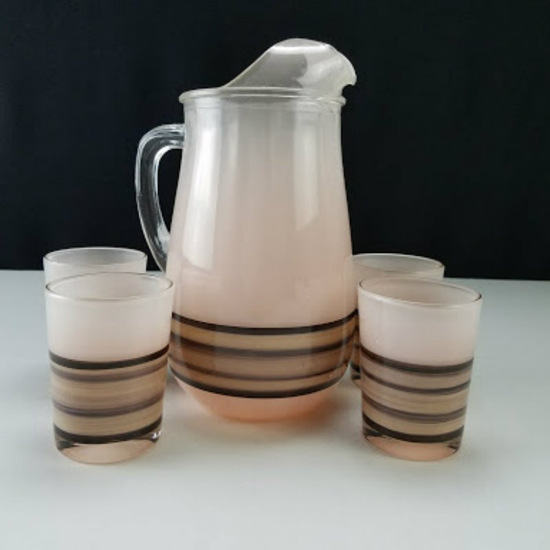 Glass Pitcher with 4 Juice Glasses