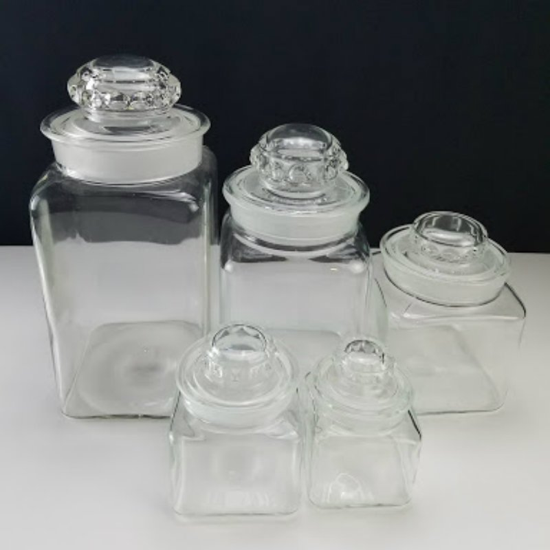 Canister Cookie Jar Clear Glass Square 5 Pcs Set