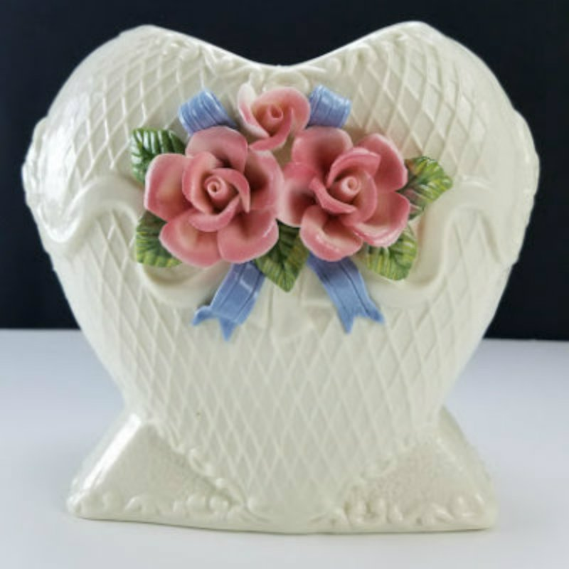 """Ceramic Vase with Pink Roses 7"""" Tall"""