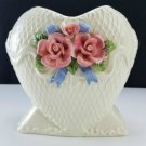 "Ceramic Vase with Pink Roses 7"" Tall"