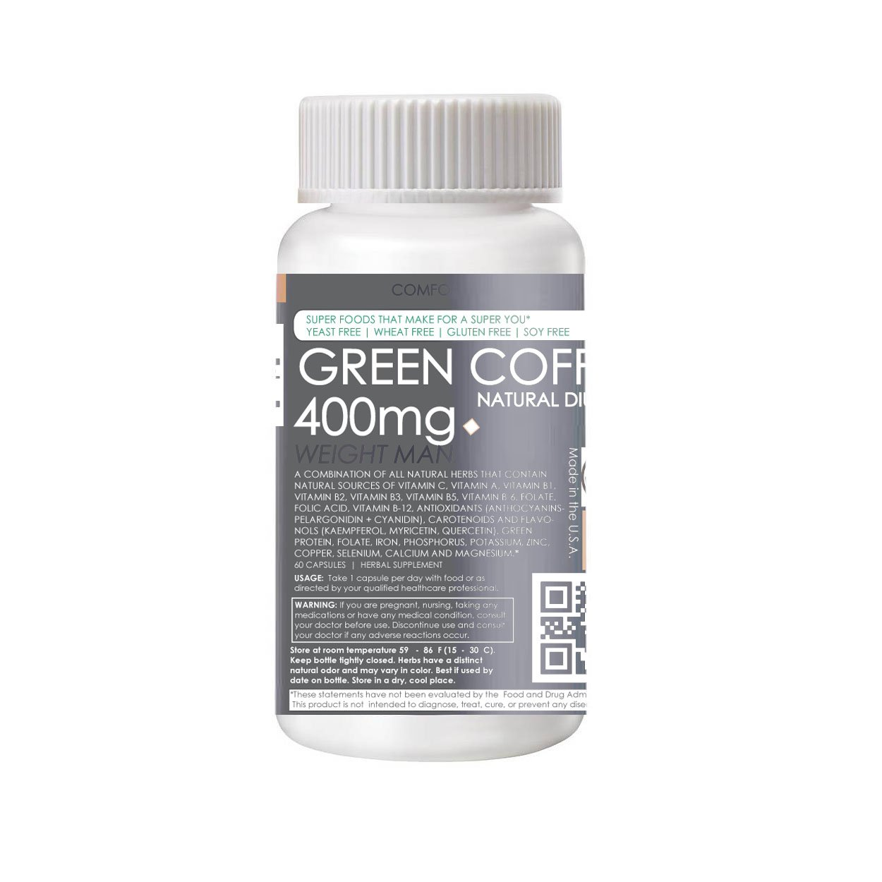 Green Coffee Diuretic Supplements (Water Weight Reduction) GMO-FREE