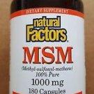 Natural Factors - MSM - 1000mg Capsules, 180-Count