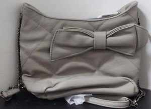 M by Miadora 'Brenda' Gray Quilted Bow Shoulder Bag