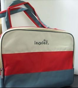 Yantzi's Stripe mom's bag/Diaper Bag 2pc set, High capacity 22L (Red)