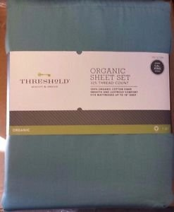 Threshold 325 Thread Count Ultra Soft Fitted Sheet Cal king Aqua