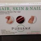 Purvana Hair Skin & Nail Biotin Softgels 30 ct - Expires 04/2017