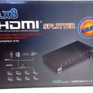 1x8 8 Port HDMI Splitter V1.4 High Speed Full HD Hub Repeater Supports 3D 1080P