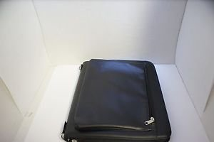 Leather Business Portfolio Case Folder With Notepad Space and Pockets for Tablet