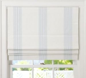 "RIVIERA STRIPE CORDLESS ROMAN SHADE 32x64"" Blue"