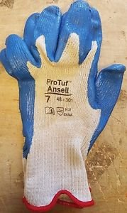 (12 Pack) Ansell Protuf 48-301 Nitrile Glove, Dipped on Cotton Liner, Size 8