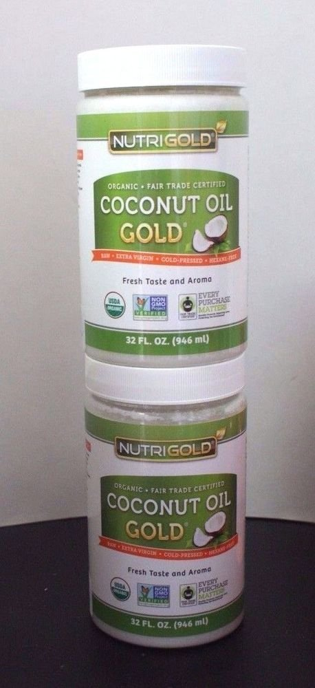 2 Pack Nutrigold coconut oil Gold 32 oz Each