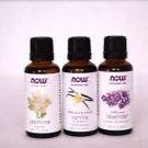 3 Pack NOW Essential Oils Jasmine, Vanilla, Lavender 1 oz EAch