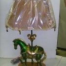 Collectible Stallion Table Lamp Green with Gold Pagoda Shade Fleur de Lis Design