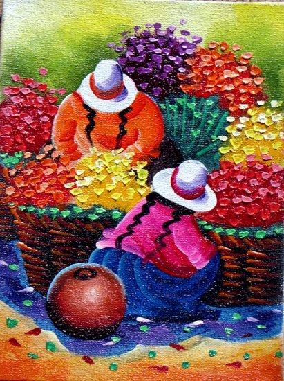 Serranitas Andean Oil Painting Picture Cuzco Chincheros