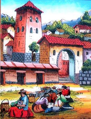 Cuzco Chincheros Glass Painting Andean Market Peru