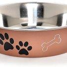 Loving Pets Metallic Bella Bowl Dog Bowl, Large, Copper