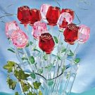 Red 7inch Crystal Rose With Green Leaves (1) Each