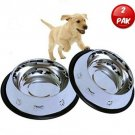Mr. Peanut's Set Of 2 Etched Stainless Steel Dog Bowls, 32oz Dry Weight * Easy