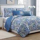 Avondale Manor 5 Piece Katerina Reversible Quilt Set, Queen, Blue