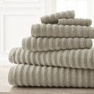 Wavy Luxury Spa collection 6 piece quick dry towel set Gray