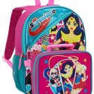 DC Super Hero Girls 16 Full Size Backpack With Detachable Lunch Bag