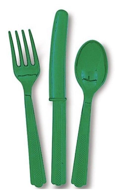 Emerald Green Plastic Cutlery Set for 6 Guests (18pcs) Emerald Green