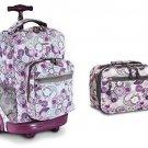 J World Lemon Sunrise Roller Backpack Back Pack And Cody Lunch Bag Set