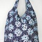 Trendy Sturdy Shopping Tote Bag - Blue White Grey Dots Pattern