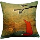 Leaveland 18-Inch-by-18-Inch Lovely Fox Under The Tree Throw Pillow Covers