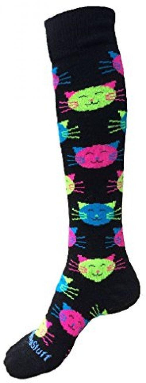 Ponce Good Kitty Over The Calf Socks (Black/Neon Small)