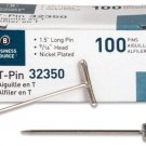 Business Source T-Pins, 1-1/2-Inch, Silver, 100/Box