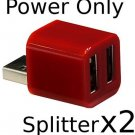 2 Pack - Cute USB Mini 2-Port POWER ONLY Splitter (Dark Red)