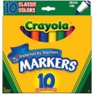 Crayola Classic Colors Broad Line 10 Markers In A Pack (Pack Of 6) 60 Markers